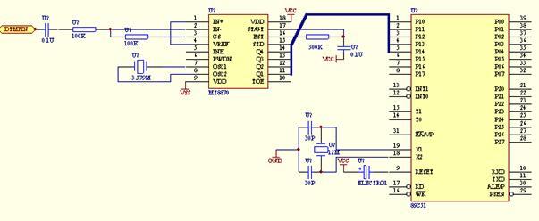 DTMF解码电路如图所示: 远端用户发送的DTMF信号,经耦合电容的隔直流作用后,由MT8870接收并进行译码,输出的四位并行二进制数据直接与8051单片机的P0.0~P0.3连接,  MT8870接收到有效的DTMF信号并解出正确的BCD数据时,会使STD电平置高,通知CPU取走数据。CPU从P0口读入数据,并与掉高四位,将P0.