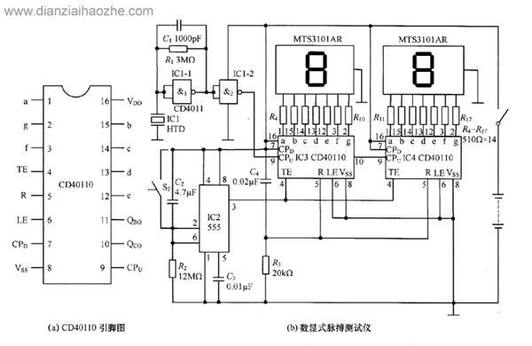 cd40110数显式脉搏测试仪电路