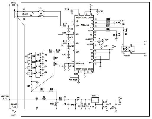 基于MC68HC908LJ12的单相复费率电度表及红外抄表器 1. 设计方案简介 单相复费率电度表主要以AD7755和MC68HC08LJ12双芯片为核心,能对峰、平、谷时段设定不同的费率,使用时能根据预设的各时段的费率累计并显示电量,以达到准确、分时、智能地测量电量的目的。此电度表接入线路后,通过分流器、分压电路分别对电流和电压信号进行采样;电流通道和电压通道的信号经放大器放大后,通过AD7755内部的模数转换器转换为两路数字信号,然后经乘法、低通滤波、数字频率变换等电路的处理后,AD7755输出与瞬时