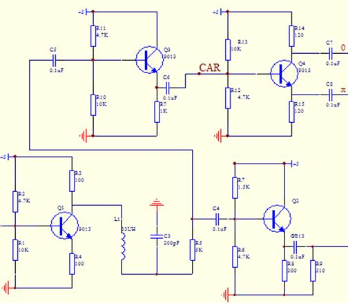 图3-4FFSK相干解调的原理框图 相干 FFSK调制解调器框图如图4-4所示。在该解调中,每个直接采样的调制信号只有两阶 ,缺省了三阶 。对于二阶采样信号在信噪比很高的情况下,同相支路和正交支路信号的能量相当。对于三阶信号只有一路信号包含噪声,两极信号之间能量具有很大差别。 在同步锁存前提下,相干解调的操作如下所示,当信号为两极时开关打到A位置,与FFSK的解调方法相同;当信号为三阶时,开关打到B位置,解调出的信号为:  (4-12) Y (4-13) 解调信号(X )相比有 的相移。3-2阶的相对相移