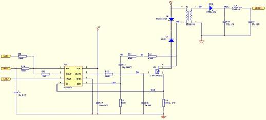 图2.1 系统框图 如图2.1所示,该装置主要由控制系统、交流抗干扰电路、直流电压变换电路、四路驱动电路组成。交流电源输入经差、共模干扰信号抑制电路和整流滤波后成260V直流,再经电压变换电路和三端稳压器得到两个较小的直流电压,分别给四路驱动电路和PIC微控制器供电。照明LED的颜色选择及亮度调节由微控制器来控制;四路驱动电路均采用单级PFC(功率因数校正)技术,通过专用PFC芯片L6562D输出的PWM(脉冲宽度调制)信号控制开关管,将直流加到开关变压器的初级上,并对输入电流进行调制,令其与电压尽量同
