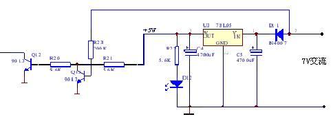 6所示. 过零检测电路由桥式整流电路和2个9013三极管组成.