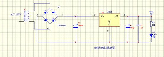 本系统设计为5V直流稳压电源给系统供电,AC220市电经220V~9V变压器变压,然后经桥式整流电路,再经电容滤波电路,经7805稳压管稳压,再进行二次滤波,输出较稳定的5V电压,给本系统供电。 流程图如下图所示:
