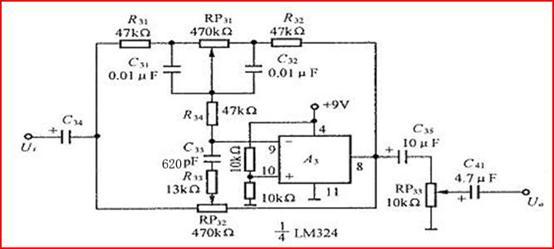 =+9V。 (2)话筒输出信号电压为5mV。 (3)录音机的输出信号电压为100mV。 一、方案论证: 1.放大电路设计 采用LM324通用四运算放大器, LM324四运放大器具有电源电压范围宽,静态功耗小,可单电源使用,价格低廉等优点,本设计放大倍数不高,LM324能达到fh=20KHz的频响要求,故选用LM324四运放大器。 2.