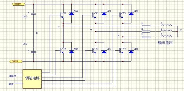 三相桥式逆变电路原理图