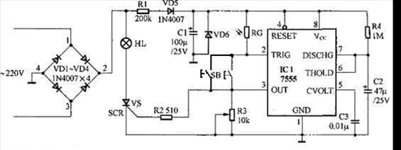 =RC ln 31.1RC (2-5) 2.3 系统电路功能  图2.4 系统原理图 在本设计图中,Q1是晶闸管,控制灯的亮、灭。白天当光线照射到光敏电阻LR时,其阻值变得很小,按下按钮S1。555的2端不能产生幅度低于VCC/3的触发负脉冲,故不能使555的3端高电平来触发Q1使它导通,电灯LR不亮。当夜晚没有光线照到光敏电阻上时,阻值变大,当按下按钮S1时,555的2端产生了低于VCC/3的低电平脉冲,从而使555定时器的3端输出约50秒(此时闸可调)的高电平,它触发Q1的控制端,使Q1导通,电灯亮。