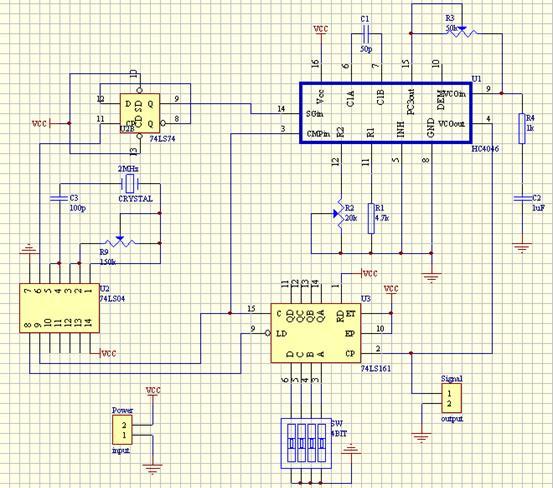 (1) 经过调试,得出波形是正弦波: 理论上,由晶振产生的是方波,那么最后输出的也应该是方波,经过再次调试,得出是74LS161芯片的原因,产生频率太高导致74LS161没法正常工作,最后把原来的74LS161芯片换成HC74LS161芯片,再进行调试,果然输出的方波. (2) 当需要变换频率时,即从1M到10M的时候,拨码器虽按照要求拨动了,但输出波形的频率并不像理论上那样稳定,而是会跳动的。原因就是拨码器没法正常工作。拨码器不能正常工作的原因是没有接上拉电阻。接上上拉电阻后,拨码器果然好用了好多。当然