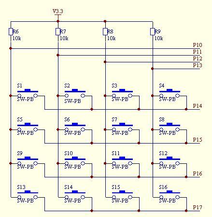 键盘电路采用4×4矩阵式接口方式图片