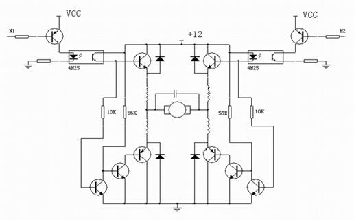 pwm电路由四个大功率晶体管组成h型桥式电路构